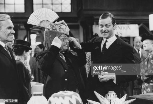 Actors John Le Mesurier Arthur Lowe and Ian Lavender in a department store scene from the 'Dad's Army' Christmas episode 'The Love of Three Oranges'...