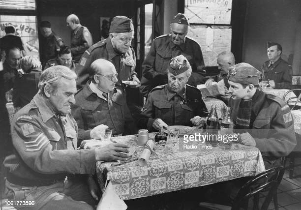 Actors John Le Mesurier Arthur Lowe Arnold Ridley John Laurie Clive Dunn and Ian Lavender in a scene from episode 'When You've Got to Go' of the...