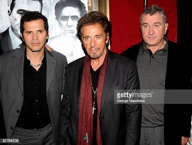 Actors John Leguizamo Al Pacino and Robert De Niro attend the New York premiere of 'Righteous Kill' at the Ziegfeld Theater on September 10 2008 in...