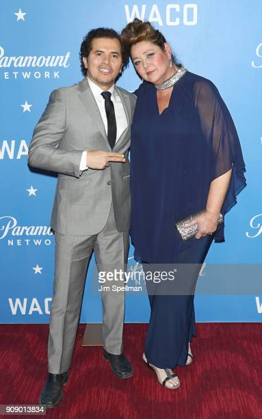 Actors John Leguizamo and Camryn Manheim attend the 'Waco' world premiere at Jazz at Lincoln Center on January 22 2018 in New York City