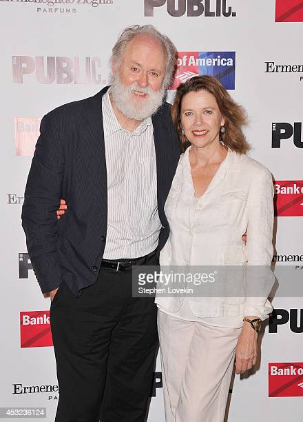 Actors John Lithgow and Annette Bening attend the curtain call for The Public Theatre's Opening Night Performance of 'King Lear' at Delacorte Theater...
