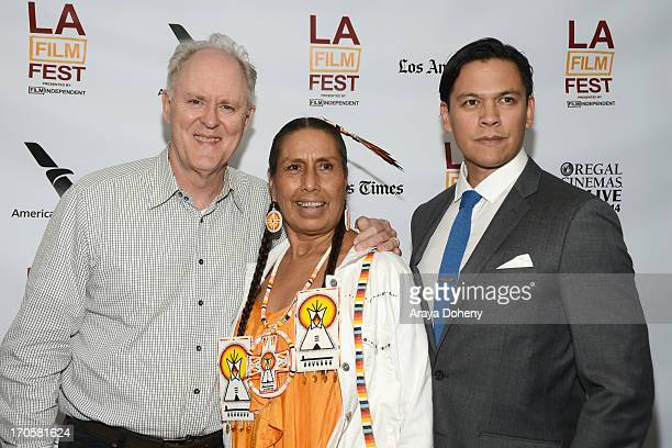 Actors John Lithgow Casey CampHorinek and Chaske Spencer arrive at the Winter in the Blood premiere during the 2013 Los Angeles Film Festival at...