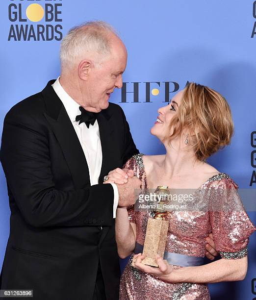 Actors John Lithgow Claire Foy poses in the press room during the 74th Annual Golden Globe Awards at The Beverly Hilton Hotel on January 8 2017 in...