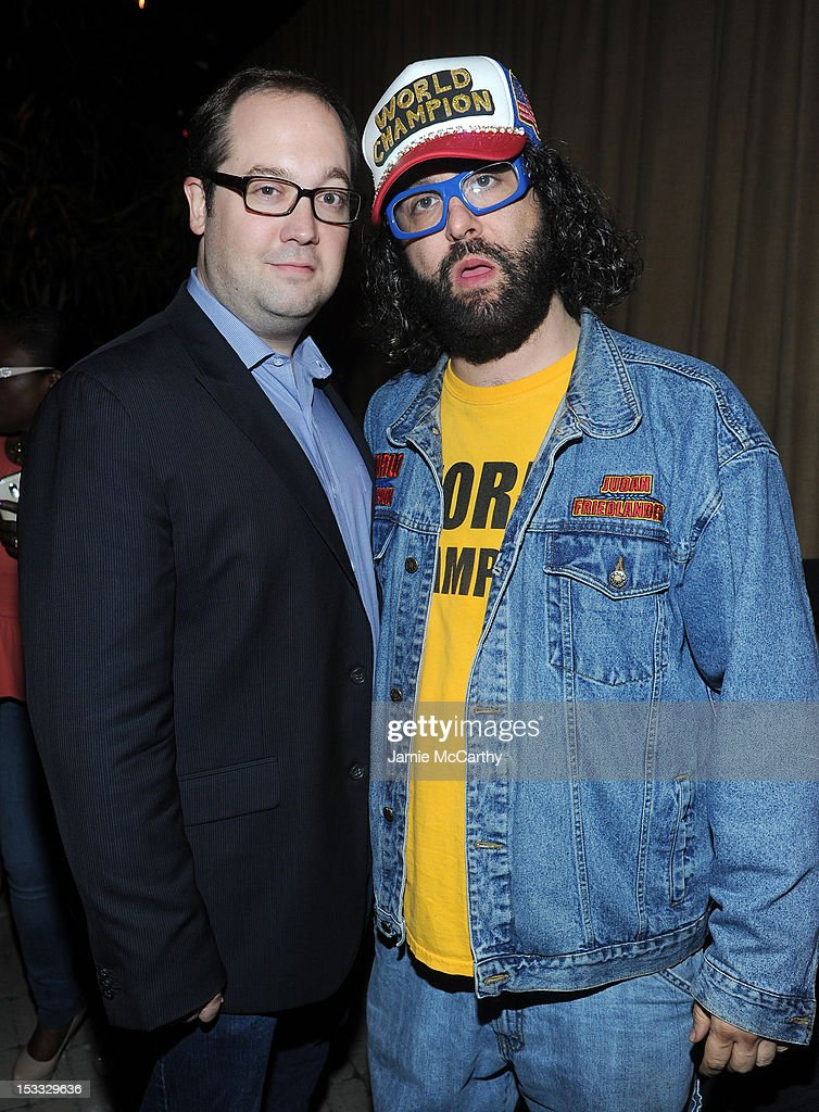 Actors John Lutz (L) and Judah Friedlander attend Entertainment Weekly and NBC's celebration of the final season of 30 Rock sponsored by Garnier Nutrisse on October 3, 2012 in New York City.