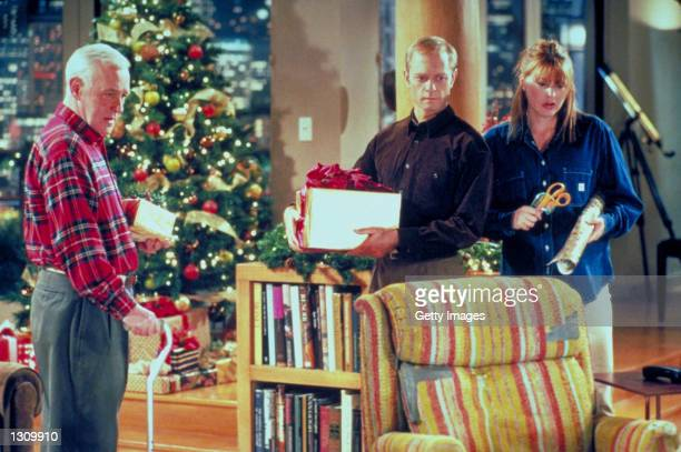 Actors John Mahoney as Martin Crane David Hyde Pierce as Niles Crane and Jane Leeves as Daphne Moon star in NBC''s television comedy series Frasier...