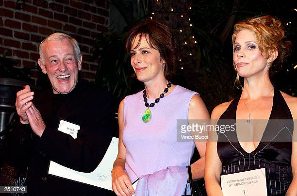 Actors John Mahoney Jane Kaczmarek and Cheryl Hines attend a reception for Emmy Award nominees at Spago on September 18 2003 in Beverly Hills...