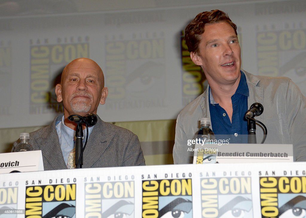 Actors John Malkovich (L) and Benedict Cumberbatch attend the DreamWorks Animation presentation during Comic-Con International 2014 at the San Diego Convention Center on July 24, 2014 in San Diego, California.