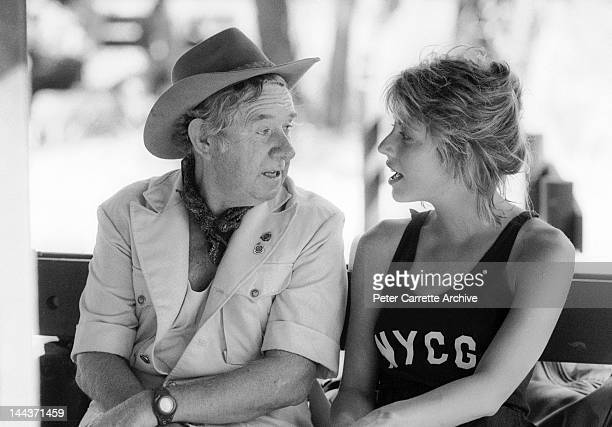 Actors John Meillon and Linda Kozlowski on the set of their new film 'Crocodile Dundee' in 1986 on location in the Northern Territory Australia