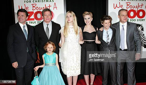 Actors John Michael Higgins Thomas Haden Church Maggie Elizabeth Jones Elle Fanning Scarlett Johansson Colin Ford and Matt Damon attend the We Bought...