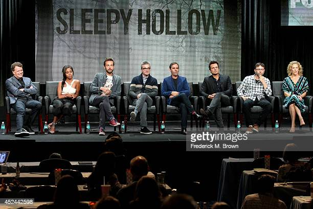 Actors John Noble Nicole Beharie and Tom Mison and producers Alex Kurtzman Roberto Orci Len Wiseman Mark Goffman and Heather Kadin speak onstage at...