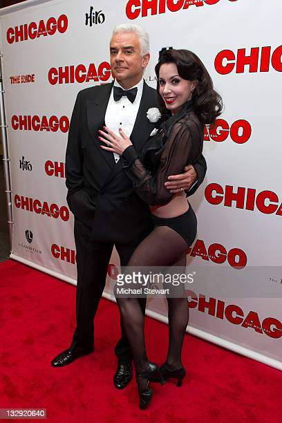 """Actors John O'Hurley and Melissa Rae Mahon attends the """"Chicago"""" 15th Anniversary celebration performance at the Ambassador Theatre on November 14,..."""