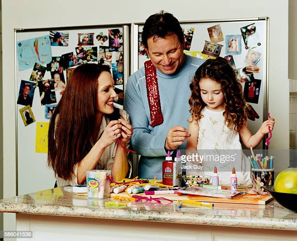 Actors John Ritter Amy Yasbeck and daughter Stella Ritter are photographed for InStyle Magazine in 2003 at home in Los Angeles California PUBLISHED...