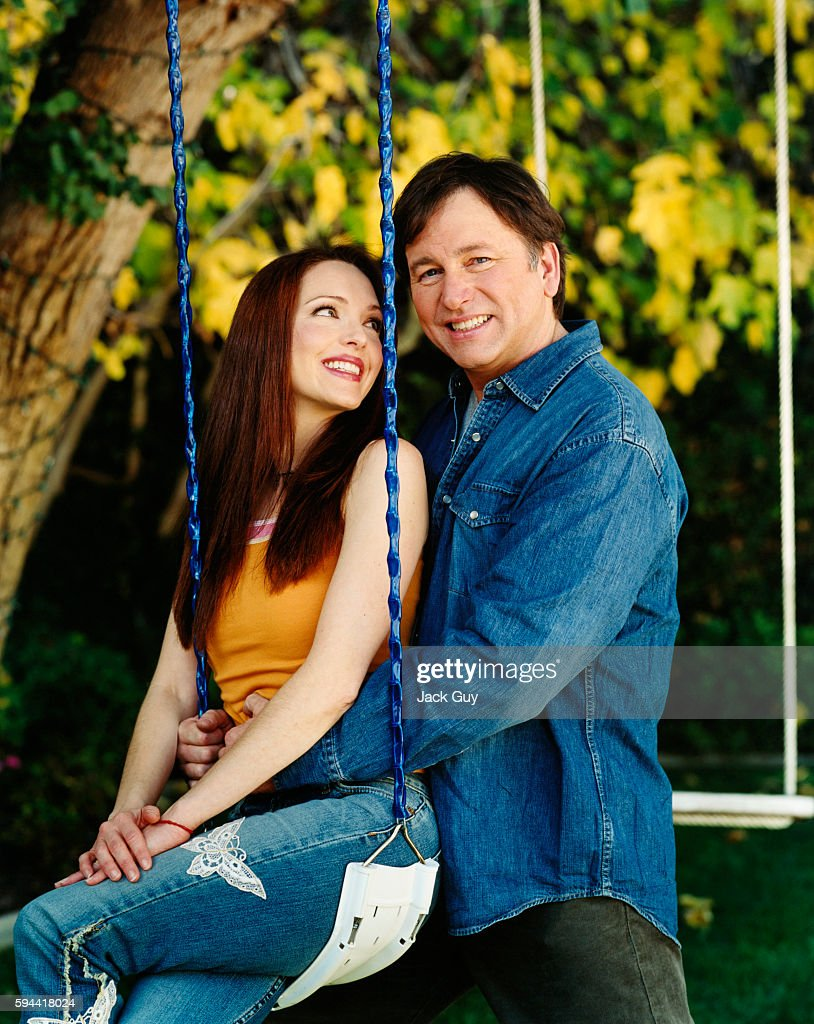 Actors John Ritter and Amy Yasbeck are photographed for InStyle Magazine in 2003 at home in Los Angeles, California. PUBLISHED