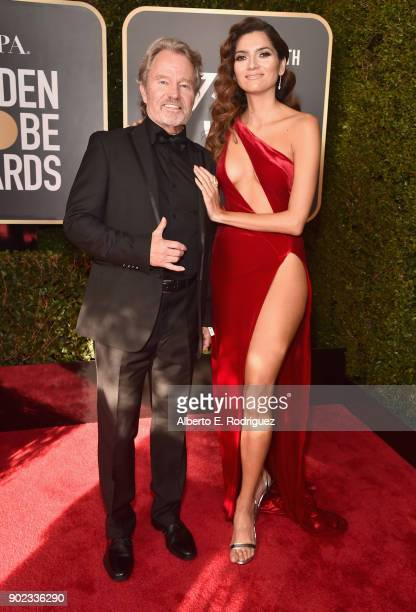 Actors John Savage and Blanca Blanco attend The 75th Annual Golden Globe Awards at The Beverly Hilton Hotel on January 7 2018 in Beverly Hills...
