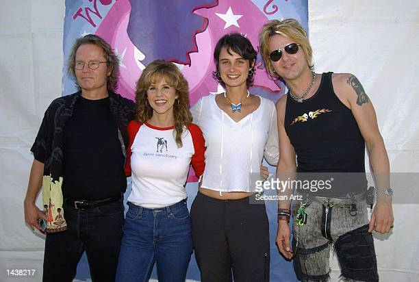 Actors John Savage Linda Blair activist Julia Butterfly Hill and musician Rikki Rockett pose at the 3rd Annual Worldfest on September 29 2002 in Los...