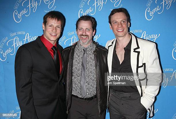 Actors John Selya Alexander Brady and Keith Roberts attend the Broadway opening of Come Fly Away after party at the Roseland Ballroom on March 25...