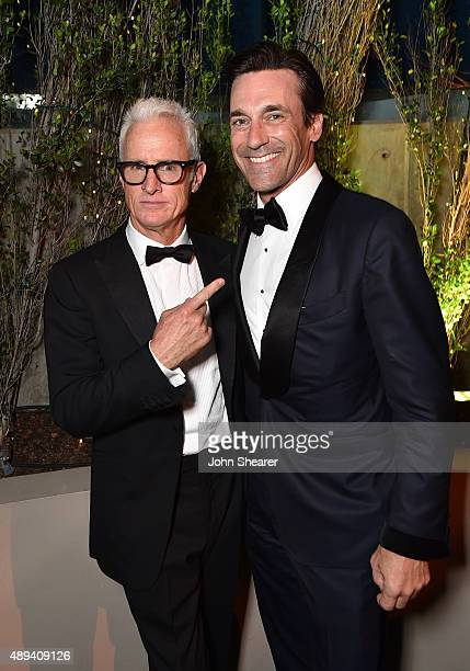 Actors John Slattery and Jon Hamm attend the AMC BBC America IFC And SundanceTV Emmy After Party at BOA Steakhouse on September 20 2015 in West...