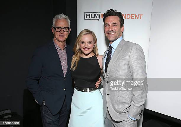 Actors John Slattery Elisabeth Moss and Jon Hamm attend a 'Mad Men' Live Read and Series Finale Event at The Theater at The Ace Hotel on May 17 2015...