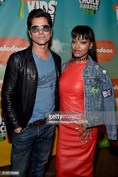 Actors John Stamos and Keke Palmer attend Nickelodeon's 2016 Kids' Choice Awards at The Forum on March 12 2016 in Inglewood California