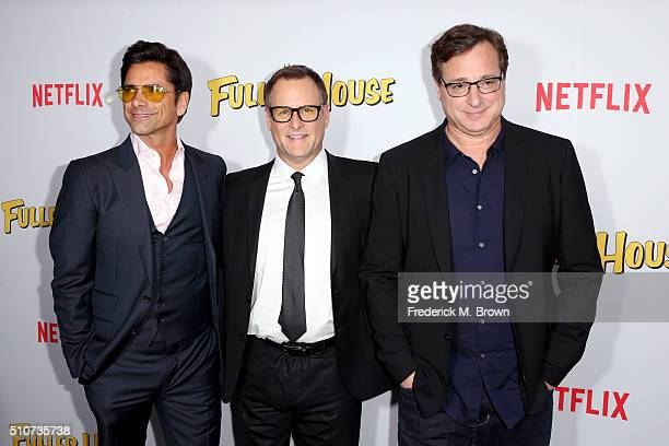 Actors John Stamos Dave Coulier and Bob Saget attend the premiere of Netflix's Fuller House at Pacific Theatres at The Grove on February 16 2016 in...