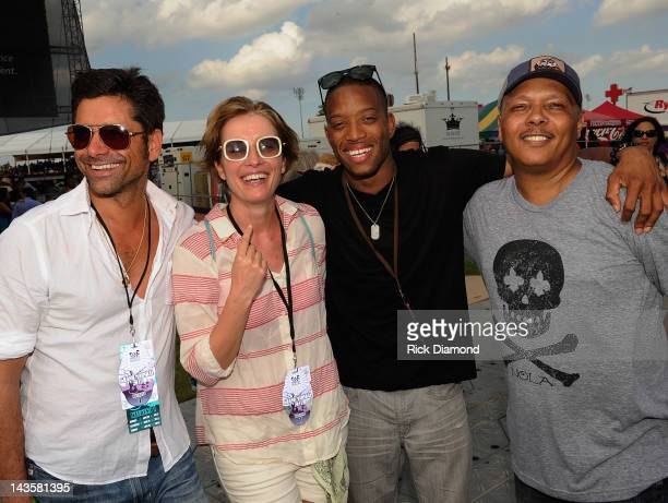 Actors John Stamos, Emma Thompson, Recording Artists Trombone Shorty and Ivan Neville backstage during the 2012 New Orleans Jazz & Heritage Festival...