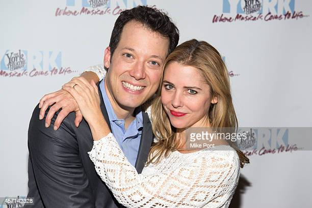 Actors John Tartaglia and Kerry Butler attend the Big opening night after party at The York Theatre at Saint Peter's on October 12 2014 in New York...