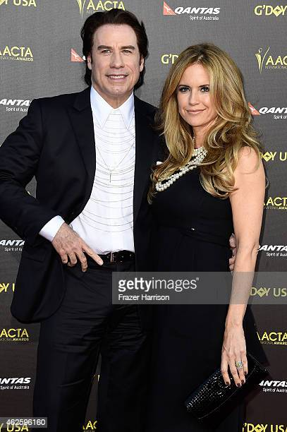 Actors John Tavolta and Kelly Preston arrive at the 2015 G'Day USA Gala Featuring The AACTA International Awards Presented By QANTAS at the Hollywood...