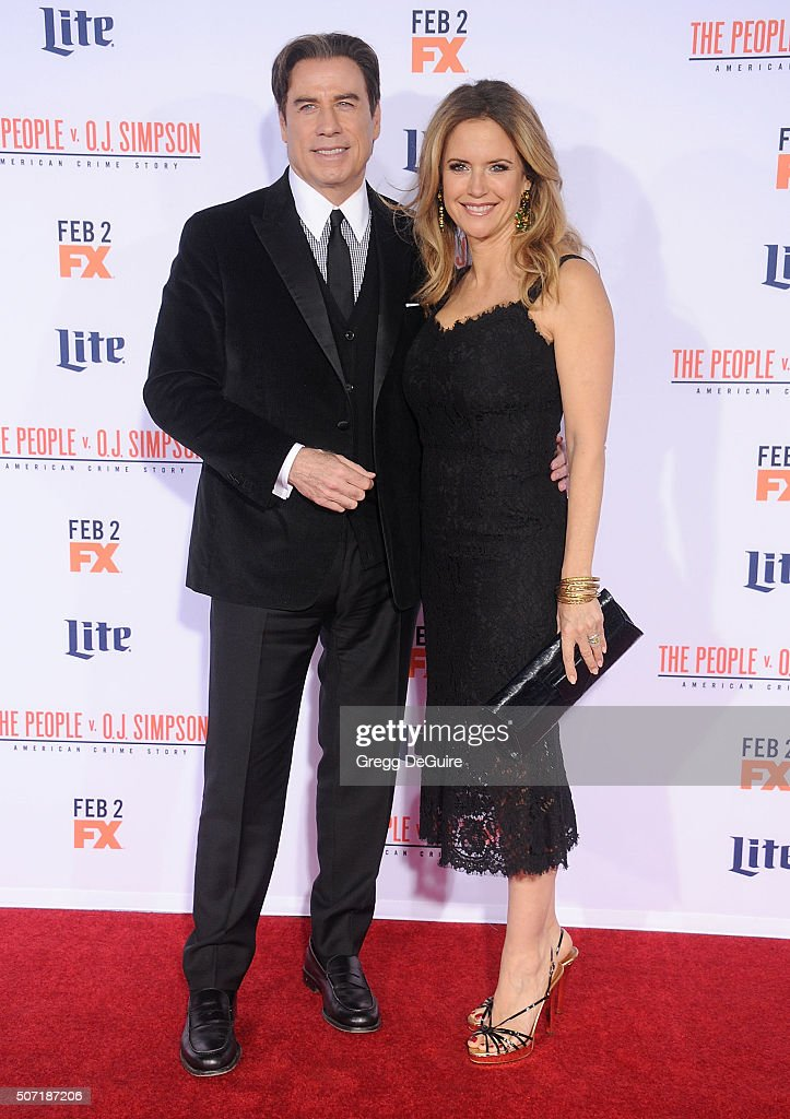 Actors John Travolta and Kelly Preston arrive at the premiere of 'FX's 'American Crime Story - The People V. O.J. Simpson' at Westwood Village Theatre on January 27, 2016 in Westwood, California.