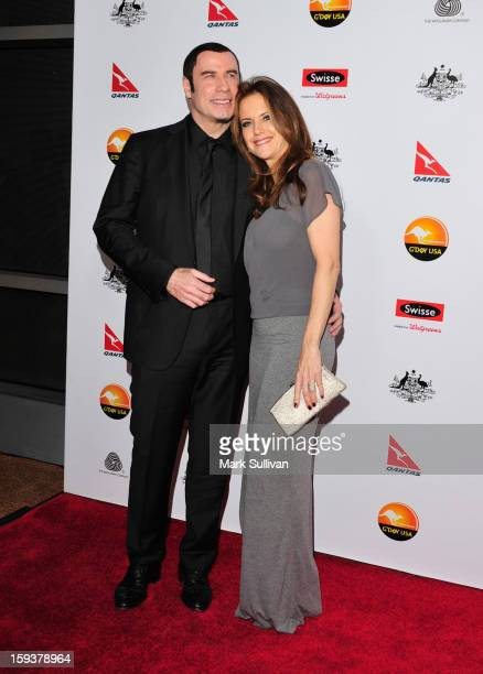 Actors John Travolta and Kelly Preston arrive for the G'Day USA Black Tie Gala held at at the JW Marriot at LA Live on January 12 2013 in Los Angeles...