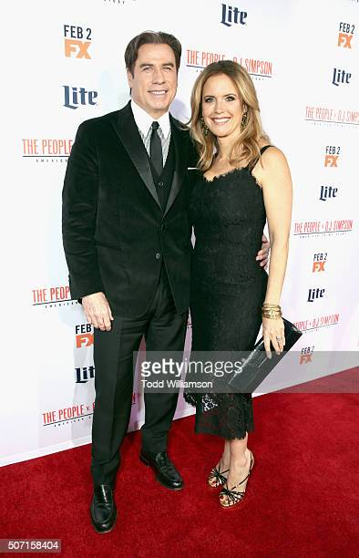 Actors John Travolta and Kelly Preston attend premiere of FX's 'American Crime Story The People V OJ Simpson' at Westwood Village Theatre on January...