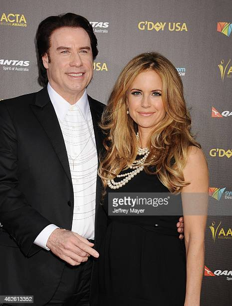 Actors John Travolta and Kelly Preston attend the 2015 G'Day USA Gala featuring the AACTA International Awards presented by Qantas at Hollywood...