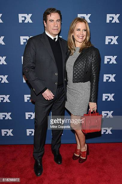 Actors John Travolta and Kelly Preston attend the FX Networks Upfront screening of The People v OJ Simpson American Crime Story at AMC Empire 25...