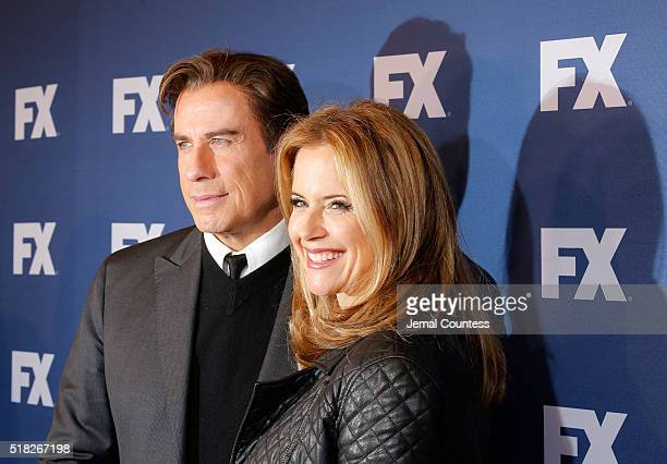 Actors John Travolta and Kelly Preston attend the FX Networks Upfront Screening Of 'The People v OJ Simpson American Crime Story' at AMC Empire 25...