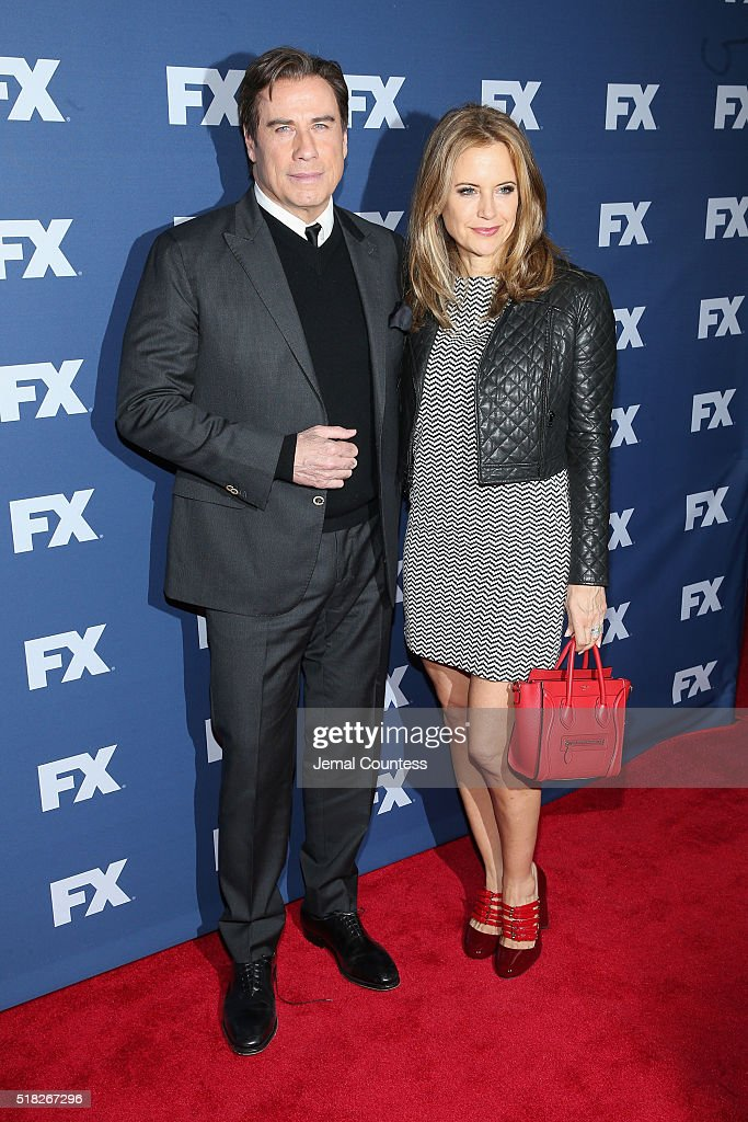 Actors John Travolta and Kelly Preston attend the FX Networks Upfront screening of 'The People v. O.J. Simpson: American Crime Story' at AMC Empire 25 theater on March 30, 2016 in New York City.