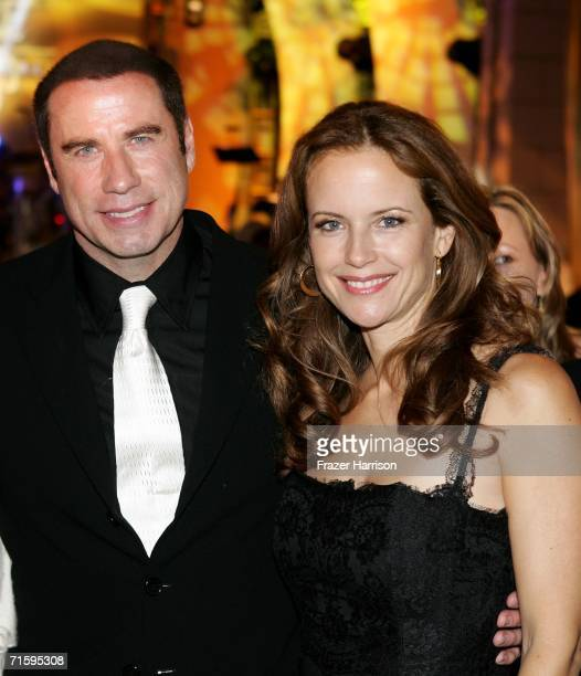 Actors John Travolta and Kelly Preston pose at the Church of Scientology Celebrity Centre 37th Anniversary Gala on August 5 2006 in Hollywood...