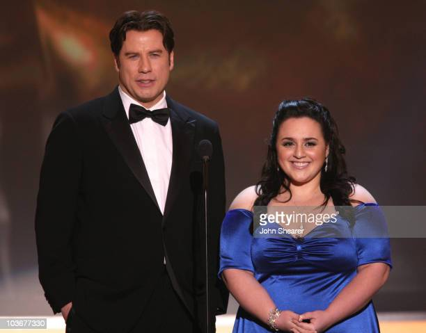 Actors John Travolta and Nikki Blonsky on stage at the TNT/TBS broadcast of the 14th Annual Screen Actors Guild Awards at the Shrine Auditorium on...