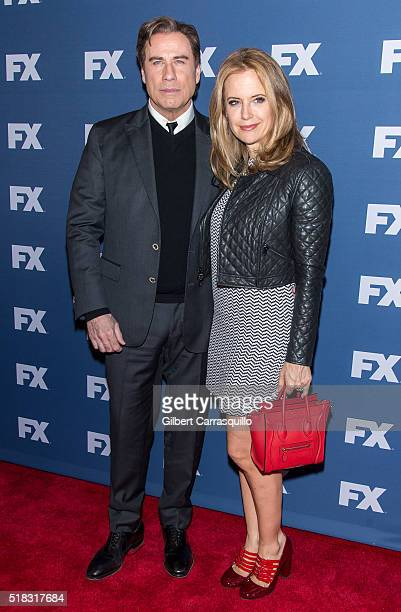 Actors John Travolta and wife Kelly Preston attend FX Networks Upfront Screening Of 'The People v OJ Simpson American Crime Story' at AMC Empire 25...