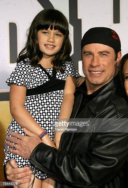 Actors John Travolta duaghter Ella Bleu arrive at the premiere of Wild Hogs at the El Capitan Theater on February 27 2007 in Hollywood California