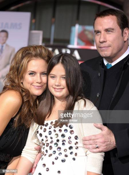 Actors John Travolta wife Kelly Preston and their daughter Ella Bleu Travolta arrive at the premiere of Walt Disney Pictures' Old Dogs at the El...