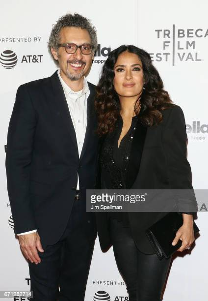 Actors John Turturro and Salma Hayek attend the Shorts Program New York Group Therapy during the 2017 Tribeca Film Festival at Regal Battery Park...