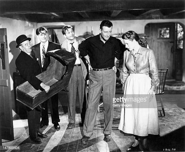 Actors John Wayne and Maureen O'Hara star in the Republic Pictures Corporation film 'The Quiet Man' 1952 Actor Barry Fitzgerald is on the left...