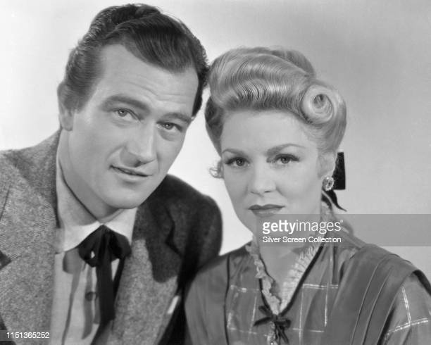 Actors John Wayne as Ringo Kid and Claire Trevor as Dallas in a publicity shot for the Western film 'Stagecoach' 1939