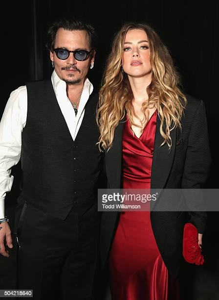 Actors Johnny Depp and Amber Heard attend The Art of Elysium 2016 HEAVEN Gala presented by Vivienne Westwood & Andreas Kronthaler at 3LABS on January...