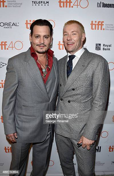 "Actors Johnny Depp and Joel Edgerton attend the ""Black Mass"" premiere during the 2015 Toronto International Film Festival at The Elgin on September..."