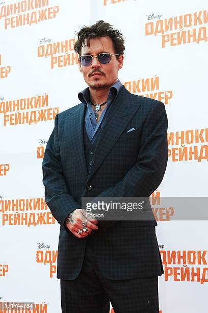 Actors Johnny Depp attends the Moscow Premiere of 'The Lone Ranger' on June 27 2013 in Moscow Russia