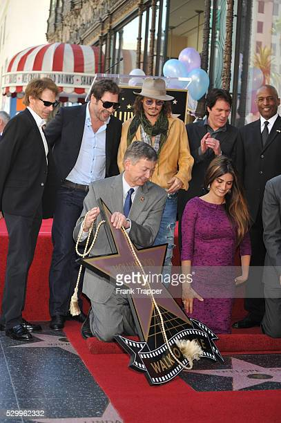 Actors Johnny Depp Johnny Depp Javier Bardem and director Rob Marshall attend the ceremony honoring Penelope Cruz with her Star on the Hollywood Walk...