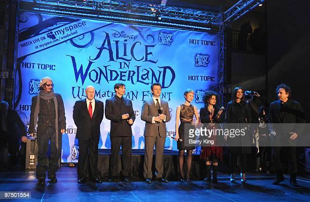 Actors Johnny Depp Matt Lucas Crispin Glover Michael Sheen Mia Wasikowska Helena Bonham Carter Anne Hathaway and director Tim Burton attend the...