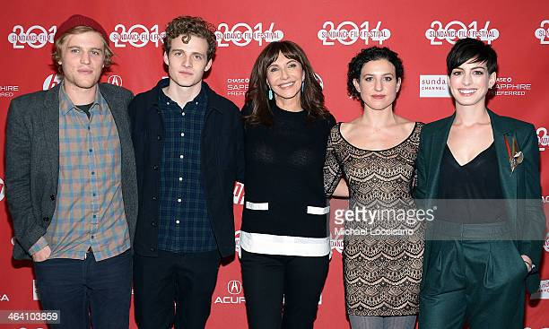 Actors Johnny Flynn Ben Rosenfield Mary Steenburgen director Kate BarkerFroyland and actress Anne Hathaway attend the premiere of 'Song One' at the...
