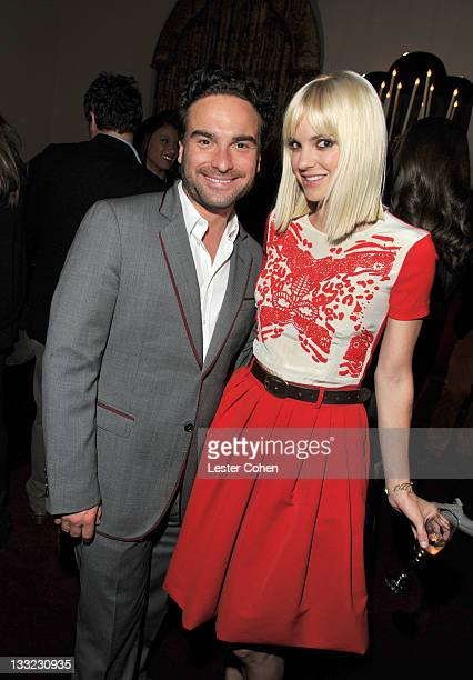 Actors Johnny Galecki and Anna Faris attend GQ's 2011 'Men of the Year' Party held at Chateau Marmont on November 17 2011 in Los Angeles California