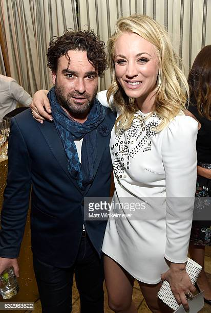 Actors Johnny Galecki and Kaley Cuoco attend the Entertainment Weekly Celebration of SAG Award Nominees sponsored by Maybelline New York at Chateau...